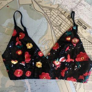 Floral Sequin Crop Top, NWOT